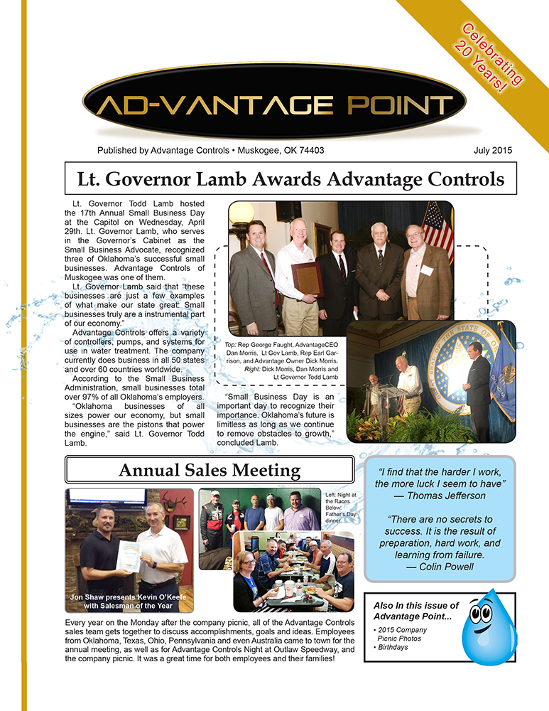 Advantage Controls Company Newsletters Industrial
